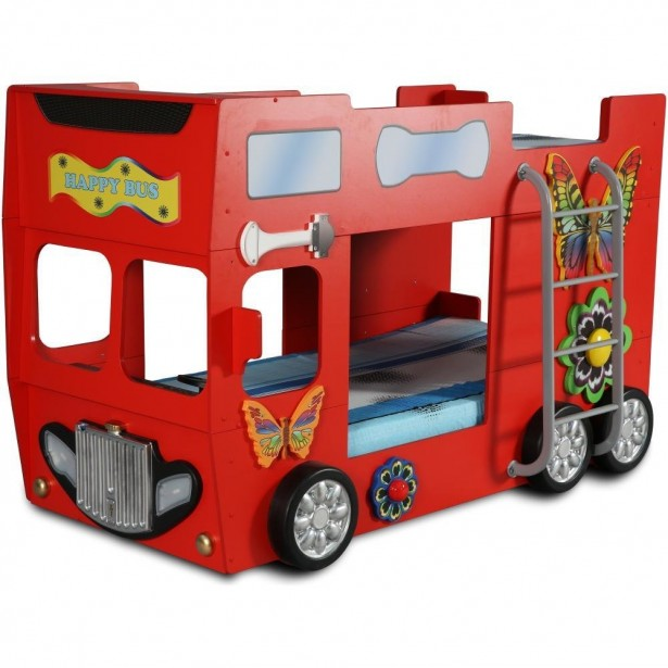 Patut in forma de masina Happy Bus culoare rosie