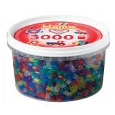 3000 margele HAMA MIDI MIX54 in borcan plastic - culori transparente cu sclipici