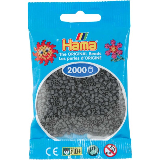 2000 margele HAMA MINI GRI INCHIS in pungulita