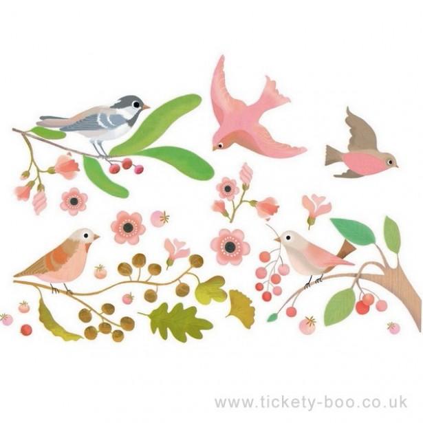 Abțibilduri Djeco pentru fereastră - păsări romantice