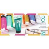 8 Culori cu sclipici Djeco - glitter gel