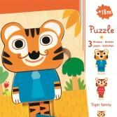 Puzzle straturi Djeco - familia de tigri