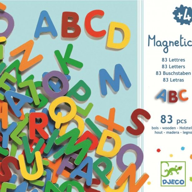 83 Litere magnetice colorate de tipar mari - Djeco