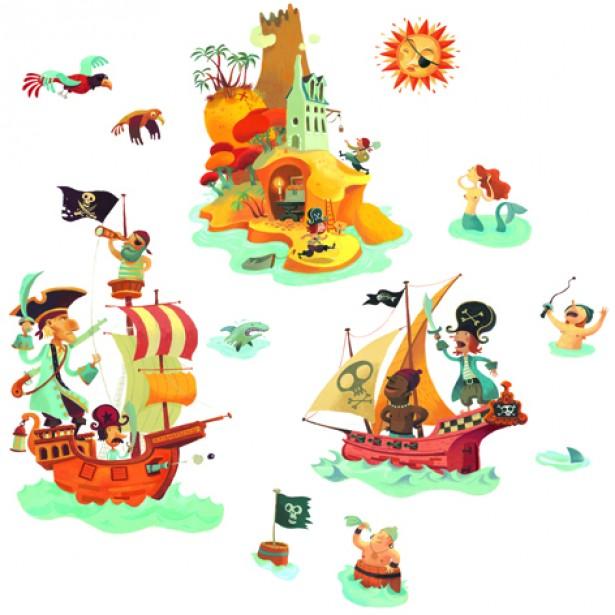 Abtibilduri de perete Djeco - Pirati