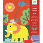Nisip colorat Djeco - Animale pentru copii