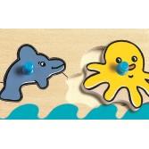 Puzzle cu buton Djeco - Oceanul