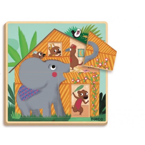Puzzle straturi Djeco - Cabana