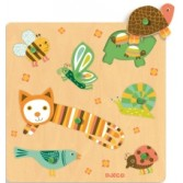 Puzzle cu buton Djeco - animale domestice