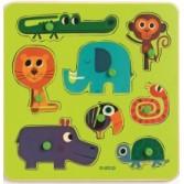 Puzzle cu buton Djeco - animale salbatice
