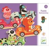 Puzzle interschimbabil Djeco - Vehicule colorate