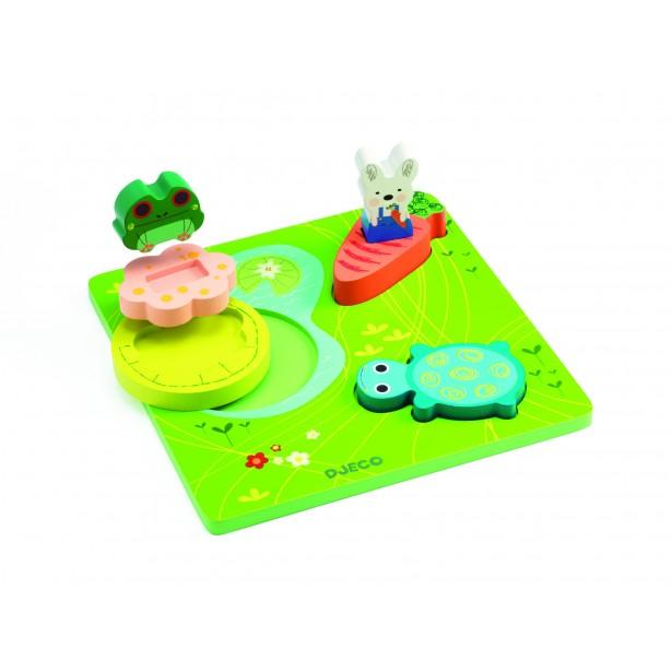 Puzzle relief  Djeco - 123 froggy