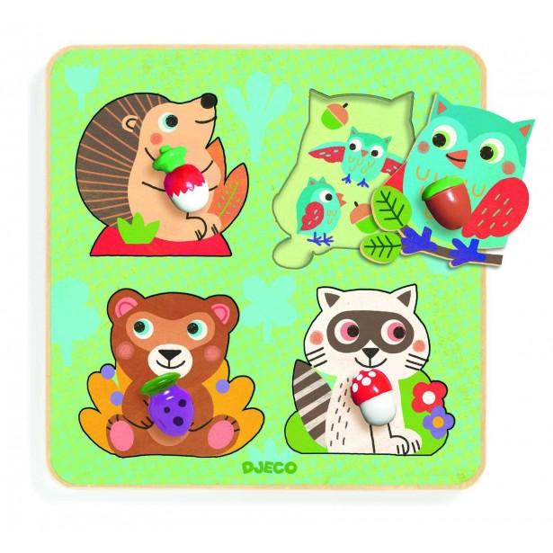 Puzzle cu buton Djeco - Animale din padure