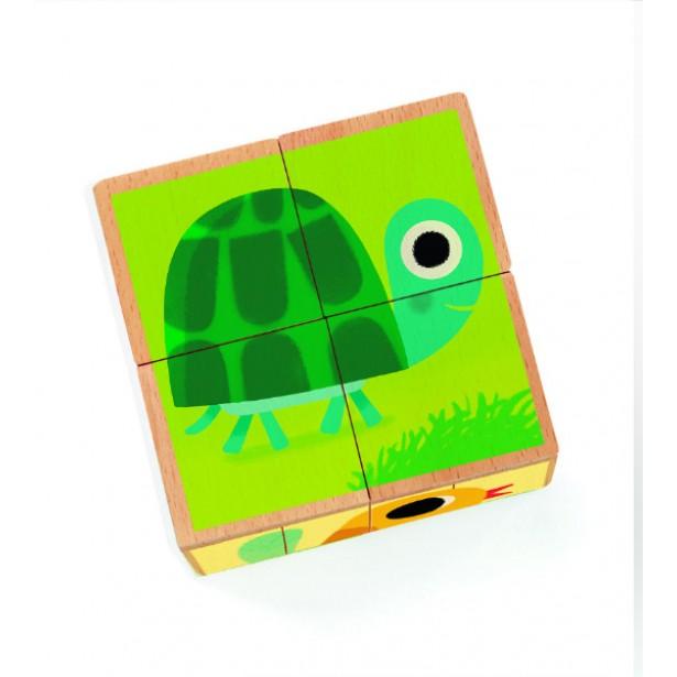 Cuburi din lemn Djeco - Animale
