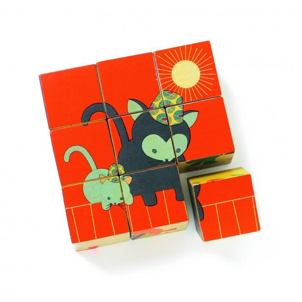 Cuburi de lemn Djeco - Animalele si puiutii lor Miaou