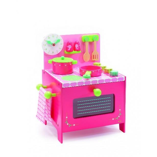 Joc de rol - Mini bucatarie roz din lemn pentru copii Djeco