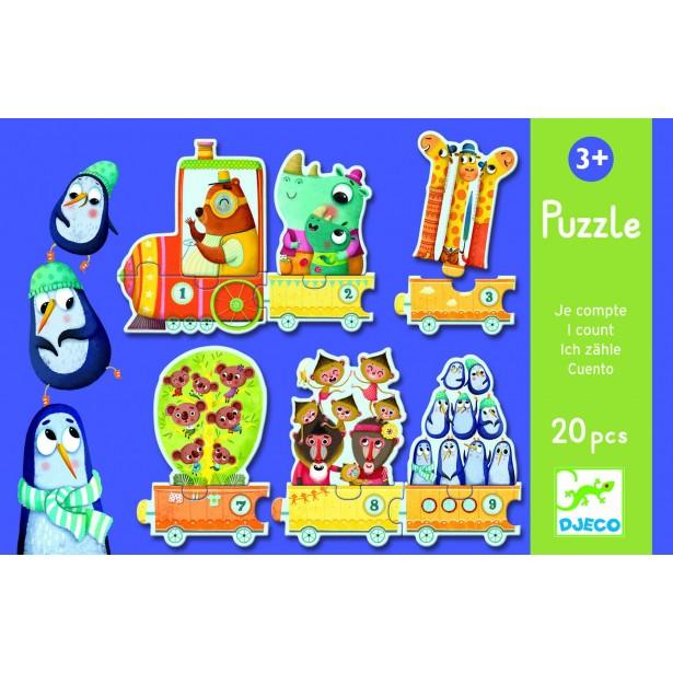 Puzzle Djeco - Trenuletul cu animale numarate