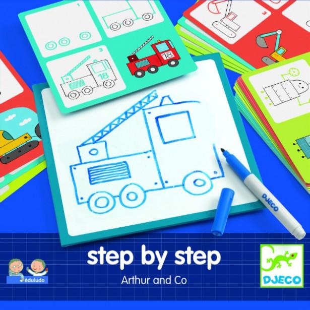 Deseneaza pas cu pas Djeco - pentru baieti
