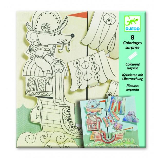 Planse de desenat cu surprize Djeco - Exploratori