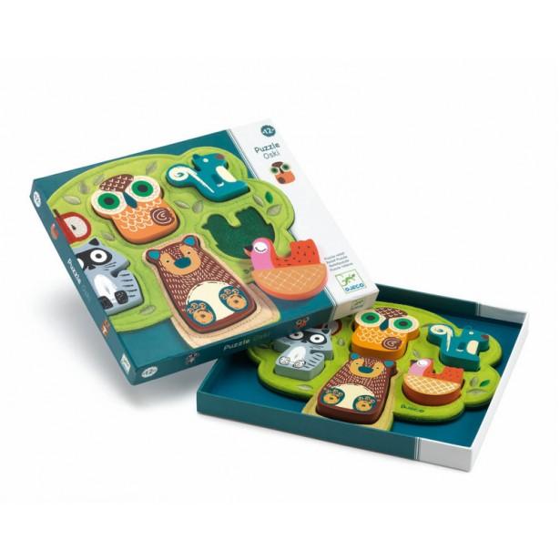 Puzzle cu animale Djeco - Oski