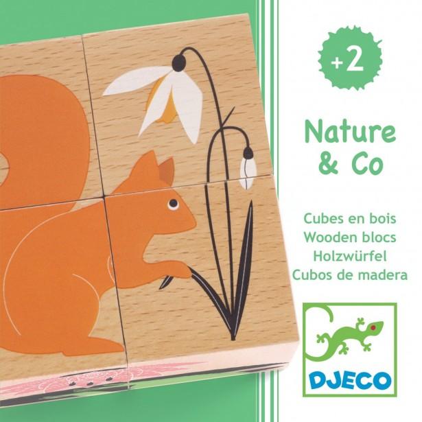 Cuburi din lemn Djeco - Natura