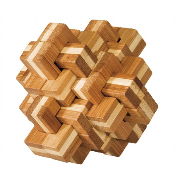 Joc logic puzzle 3D din bambus Fridolin - Ananas - dificultate 4