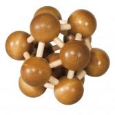 Joc logic puzzle 3D din bambus Fridolin - Atom - dificultate 3