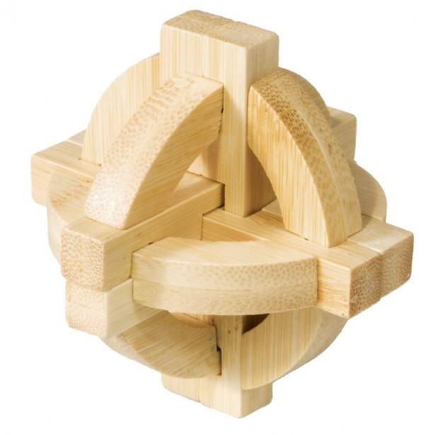 Joc logic puzzle 3D din bambus Fridolin - Disc dublu