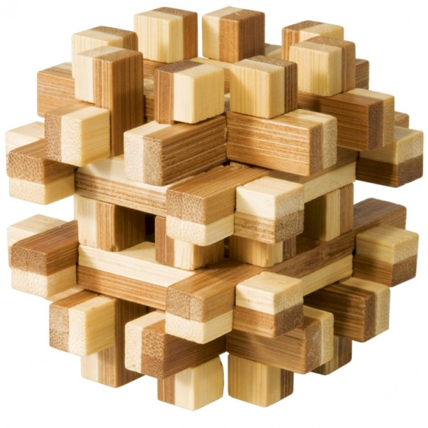 Joc logic puzzle 3D din bambus Fridolin - Magic blocks