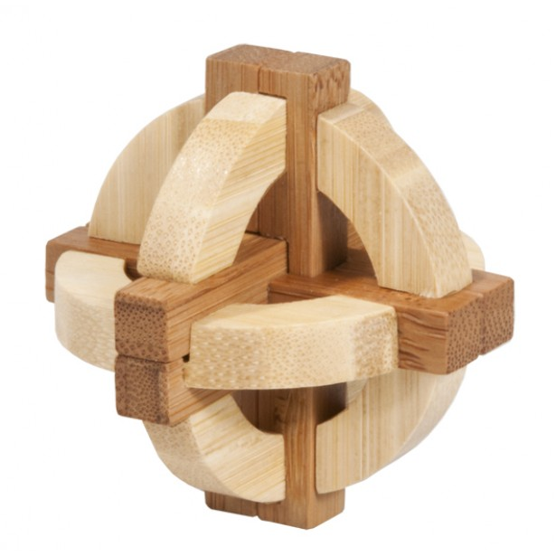 Joc logic puzzle 3D bambus Fridolin in cutie metalica - dificultate 3