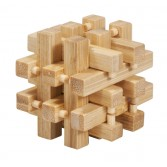 Joc logic puzzle 3D din bambus Fridolin in cutie metalica - 2