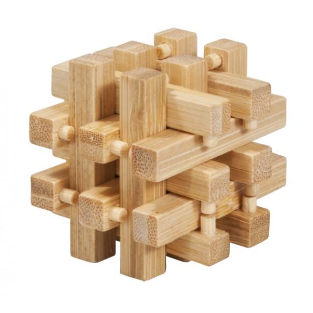 Joc logic puzzle 3D din bambus Fridolin in cutie metalica - 2