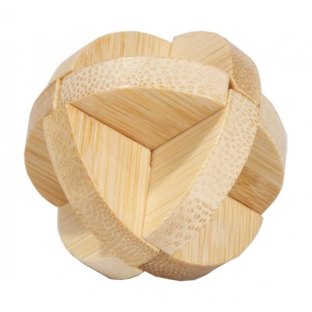Joc logic puzzle 3D din bambus Fridolin in cutie metalica - 3