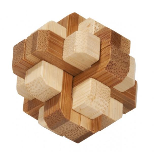 Joc logic puzzle 3D bambus Fridolin in cutie metalica - dificultate 4