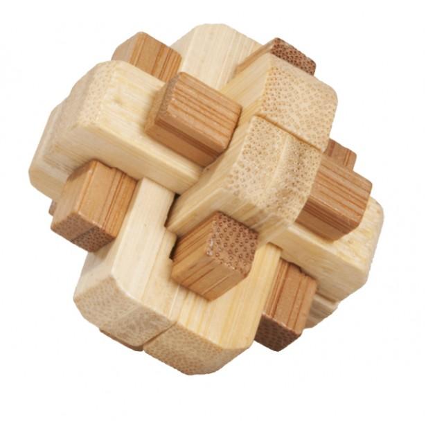 Joc logic puzzle 3D bambus Fridolin in cutie metalica - dificultate 5