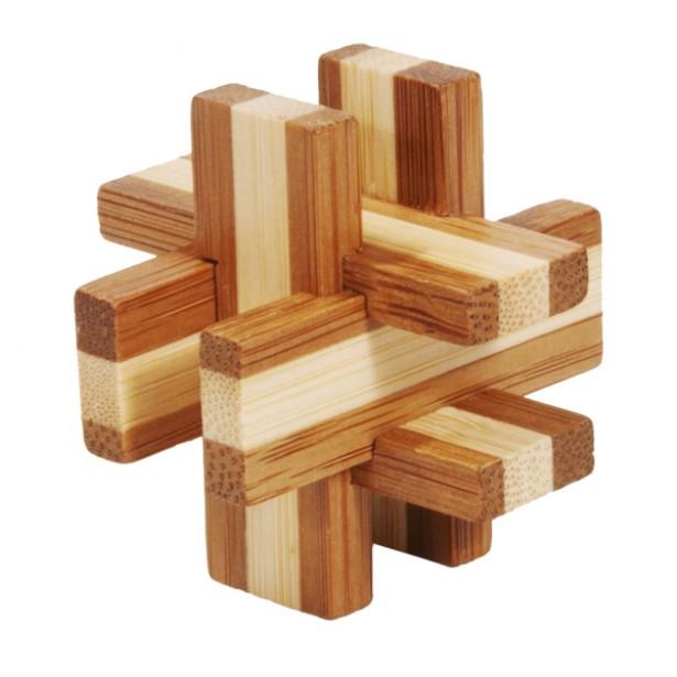 Joc logic puzzle 3D din bambus Fridolin in cutie metalica - 6