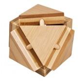 Joc logic puzzle 3D din bambus Fridolin - Cutie triunghiuri