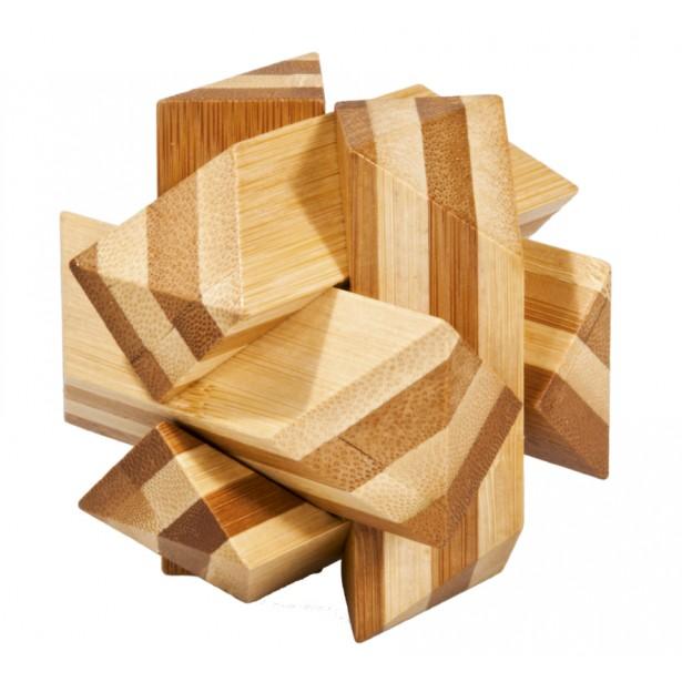 Joc logic puzzle 3D din bambus Fridolin - Nod unghiular