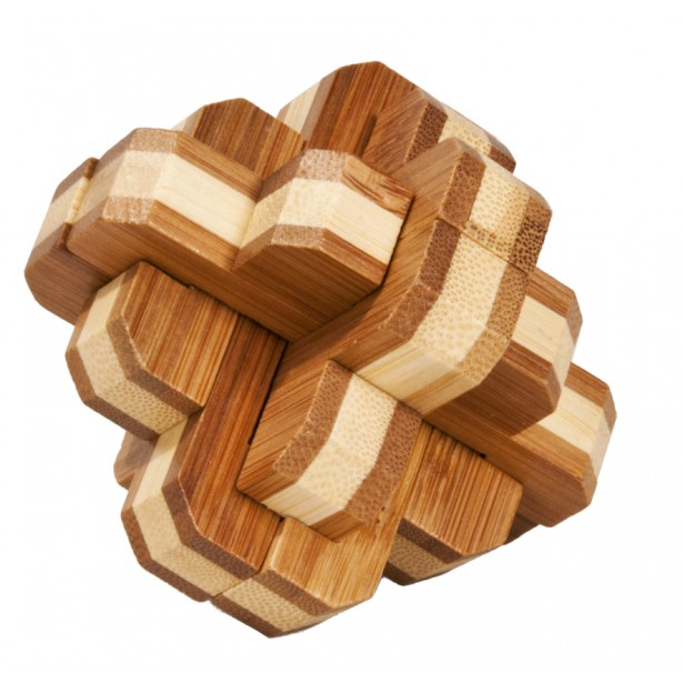 Joc logic puzzle 3D din bambus Fridolin - Nod rotund