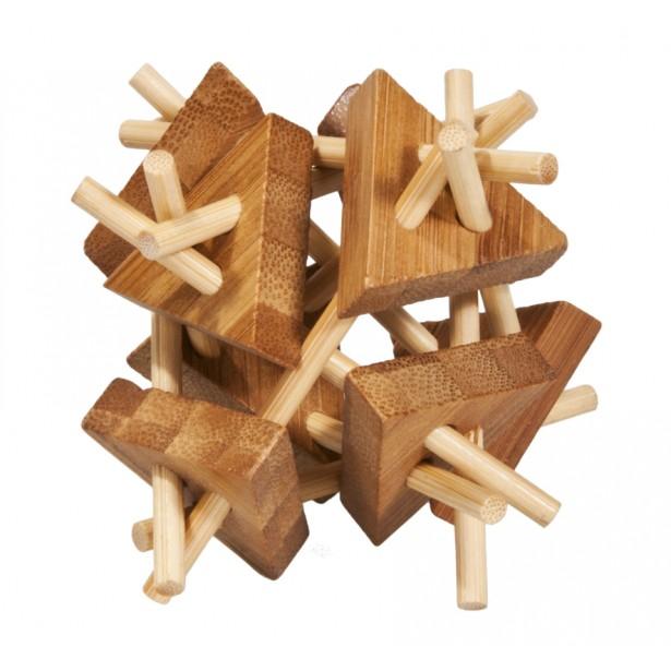 Joc logic puzzle 3D din bambus Fridolin - bete si triunghiuri