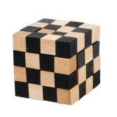 Joc logic puzzle 3D din lemn Fridolin - Anaconda natur cu negru