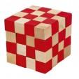 Joc logic puzzle 3D din lemn Fridolin - Anaconda - natur cu rosu