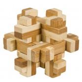 Joc logic puzzle 3D din bambus Fridolin in cutie metalica - 10