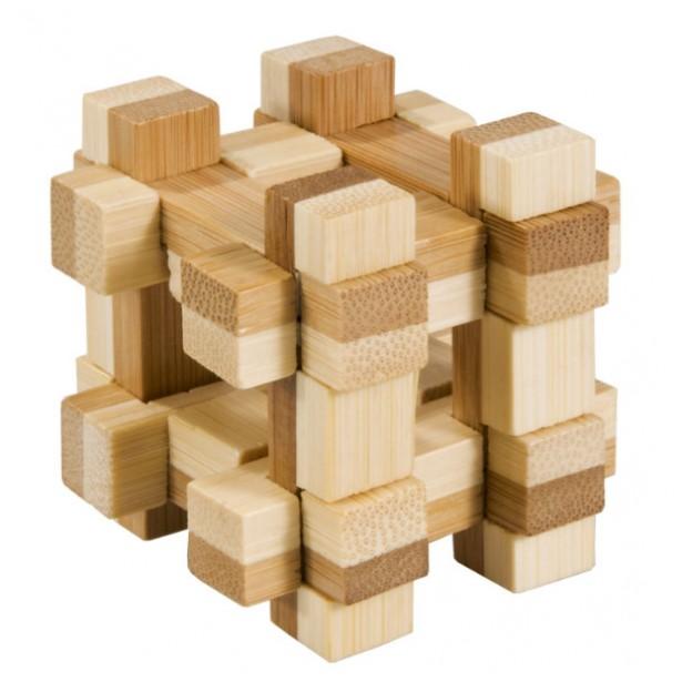 Joc logic puzzle 3D din bambus Fridolin in cutie metalica - 11