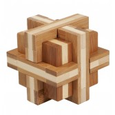 Joc logic puzzle 3D din bambus Fridolin - Double cross
