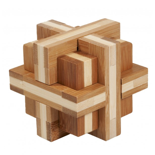 Joc logic puzzle 3D din bambus Fridolin - Double cross