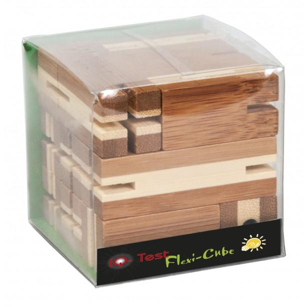 Joc logic puzzle 3D din bambus Fridolin - Flexi cube 3