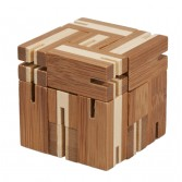 Joc logic puzzle 3D din bambus Fridolin - Flexi cube 4
