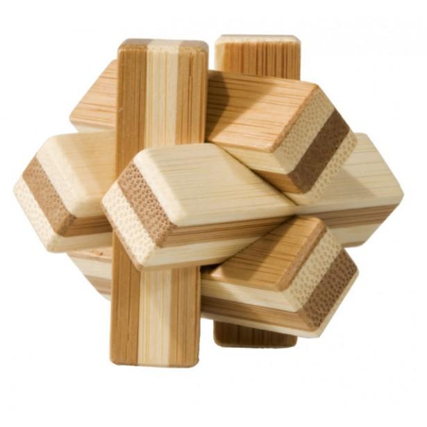 Joc logic puzzle 3D din bambus Fridolin in cutie metalica - Nod