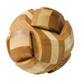 Joc logic puzzle 3D din bambus Fridolin in cutie metalica - Mingea