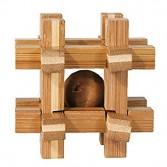 Joc logic puzzle 3D din bambus Fridolin - cutie grilaj